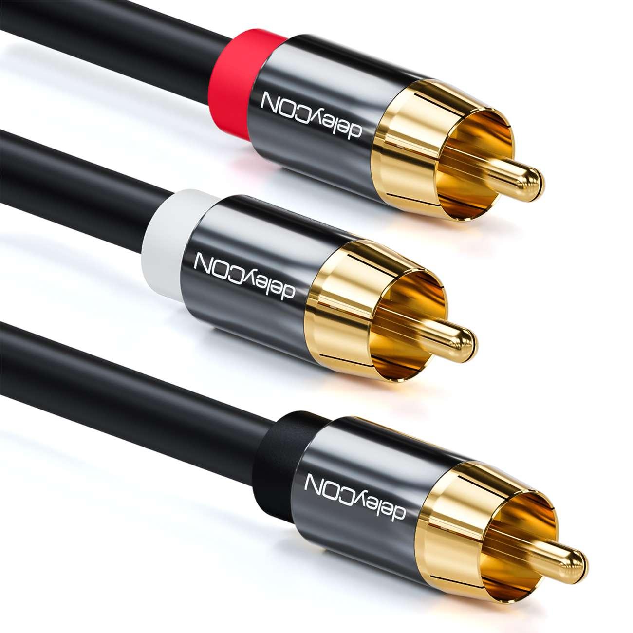 deleyCON 2m Subwoofer Kabel Cinch RCA Y-Kabel HiFi Audio Kabel 3x ...