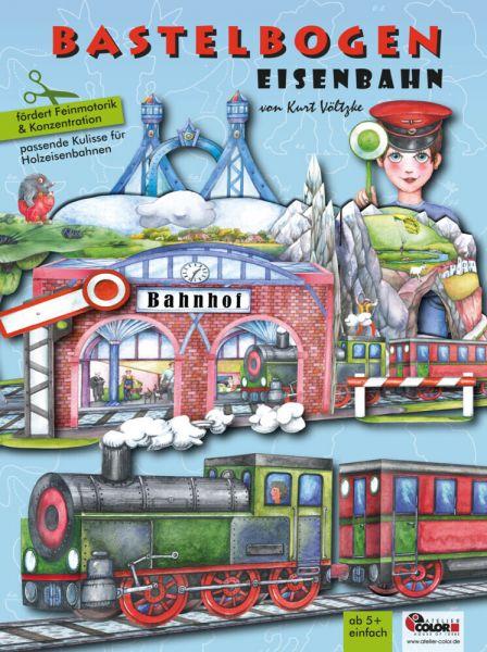 Image of Eisenbahn Bastelbogen: 3d bespielbarer Bahnhof, Brücke, Zug zum Basteln für Kinder ab 5+. Illustrier