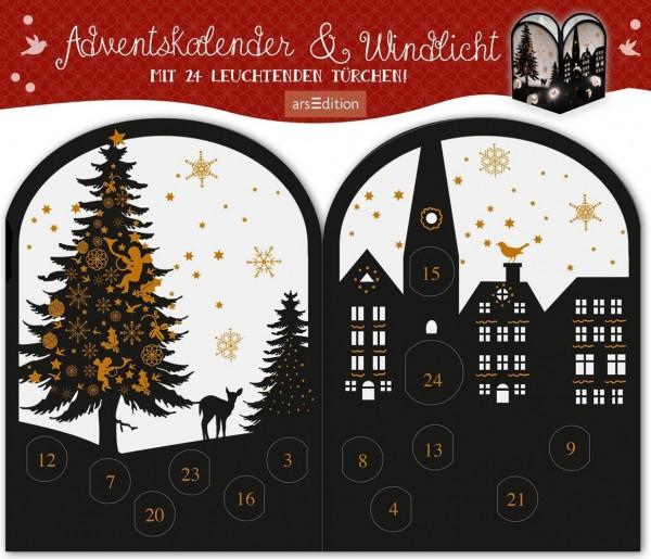 Image of Teelichthäuschen Abendstunde, Adventskalender & Windlicht: Mit 24 leuchtenden Türchen!