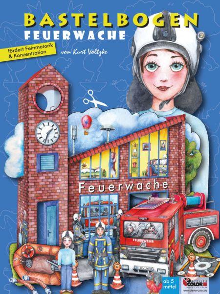Image of Bastelbogen Feuerwache: 3d bespielbare Feuerwache zum Basteln aus Papier für Kinder ab 5+. Illustrie