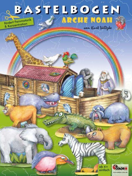 Image of Arche Noah Bastelbogen: 3d bespielbares Schiff mit Tieren zum Basteln für Kinder ab 5+. Illustrierte