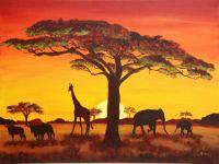 Sonnenuntergang mit afrikanischen Tieren - 500 Teile (Puzzle)