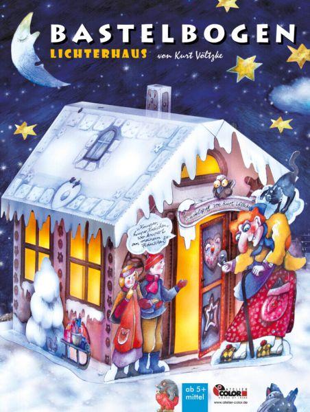 Image of Lichterhaus Bastelbogen: Hexenhaus zum Basteln und Leuchten im Advent fürs Kinderzimmer