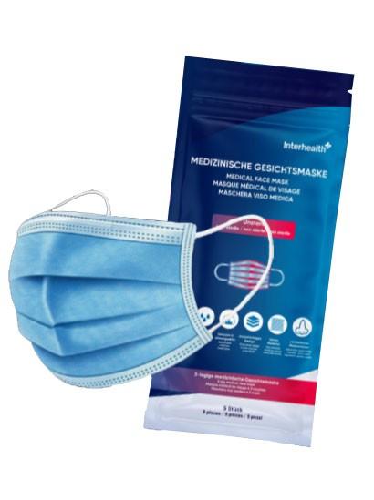 Interhealth Medizinische Gesichtsmaske 3-lagig Einweg, 5 Stück