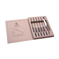 Laguiole Set aus 6 Steakmessern - Holzgriff - vergrautes Holzfarben - Klinge : 10,5 cm