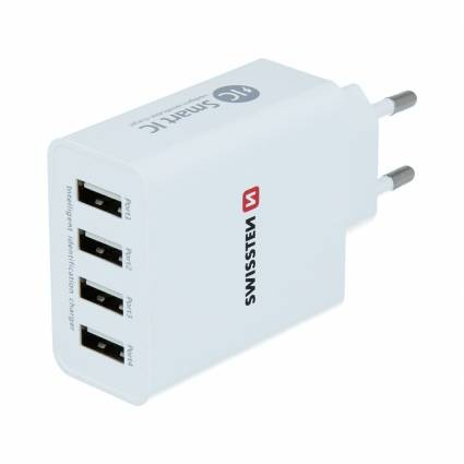 Swissten Travel Charger Smart IC mit 4x USB 5A Power weiss