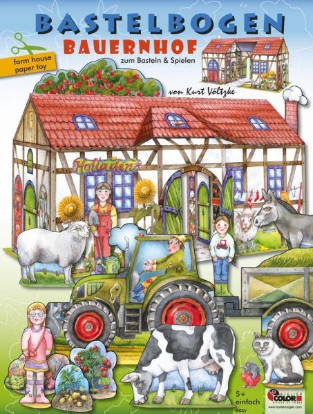 Image of Bauernhof Bastelbogen: 3d bespielbarer Bauernhof mit Traktor & Tieren zum Basteln aus Papier für Kin