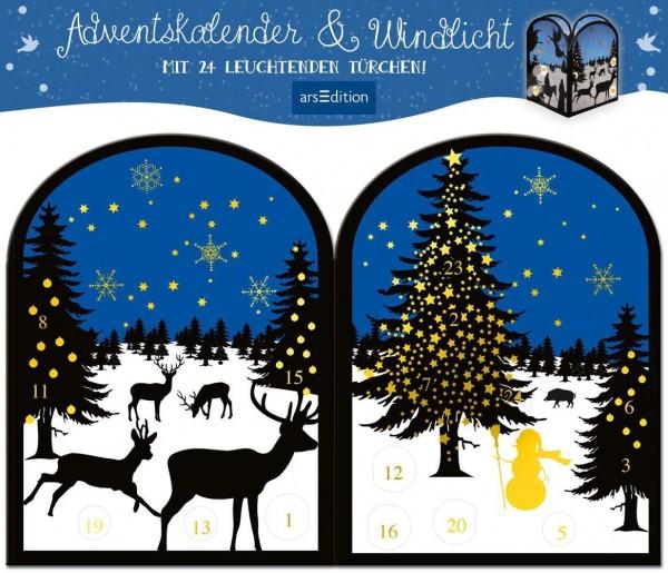 Image of Teelichthäuschen Winternacht, Adventskalender & Windlicht: Mit 24 leuchtenden Türchen
