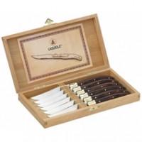 Laguiole Steakmesser-Set aus Pakkaholz mit Goldverzierung, 6 Stück