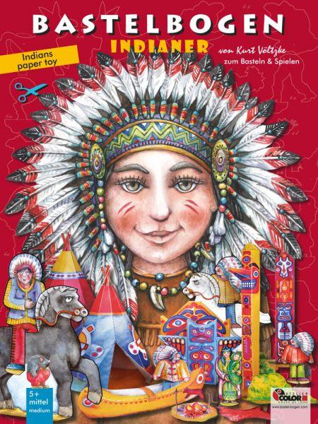 Image of Indianer Bastelbogen: 3d bespielbares Indianerdorf zum Basteln ab 5+ aus Papier. Illustrierte Ausgab