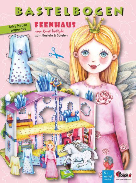 Image of Bastelbogen Feenhaus mit Anziehpuppe: 3d bespielbares Puppenhaus für Prinzessin und Einhorn. Fördert