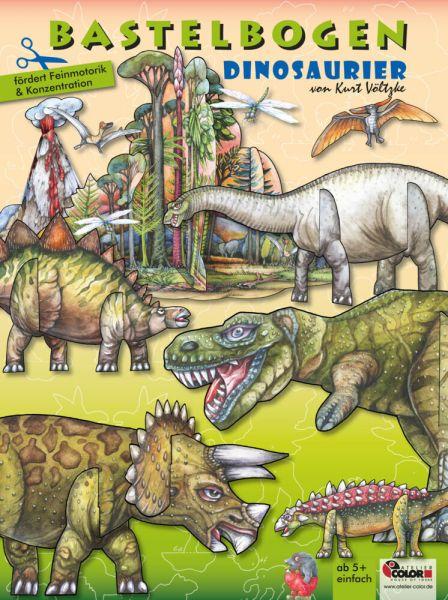 Image of Dinosaurier Bastelbogen: 3d bespielbare Dinosaurier mit Vulkan & Erdmittelalter Landschaft zum Baste