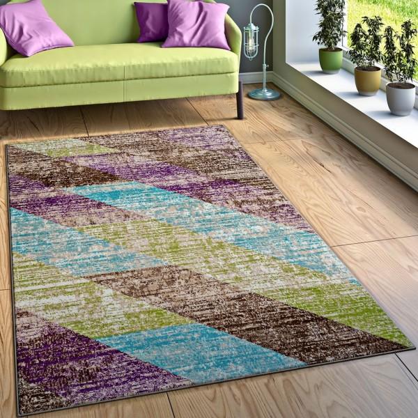 Designer Teppich Wohnzimmer Ausgefallene Farbkombination Streifen Mehrfarbig