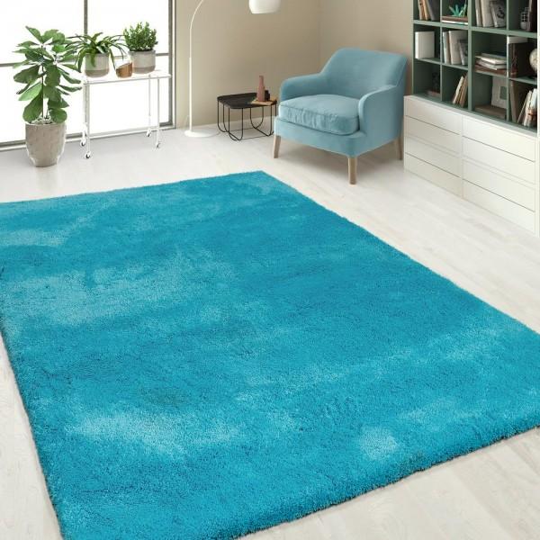 Hochflor Shaggy Teppiche Einfarbig Türkis