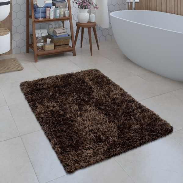 Moderne Badematte Badezimmer Teppich Shaggy Kuschelig Weich Einfarbig Braun