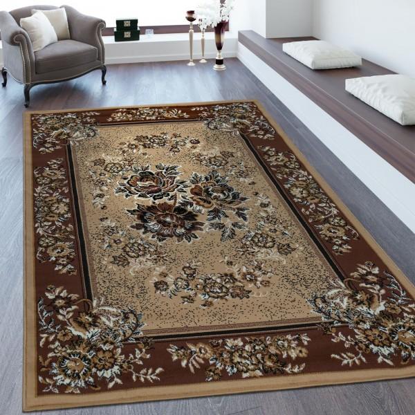 Orientteppich Bordüre Florales Design Beige Braun
