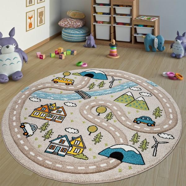 Kinderteppich Rund Straßen-Motiv
