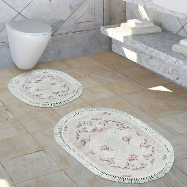 Badezimmer Teppich Set Shabby Chic Look Waschbar Gemütlich Badvorleger Altrosa