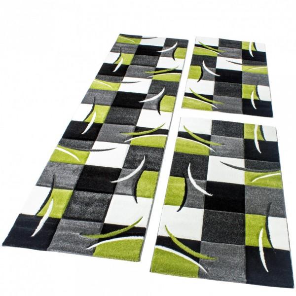 Ensemble De Tapis 3 Pcs Noir Gris Vert