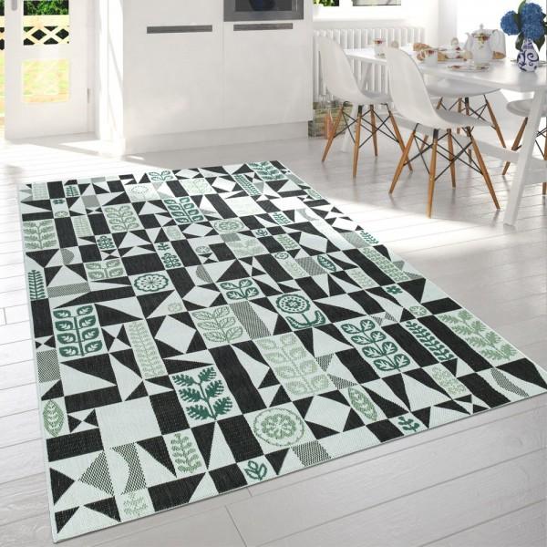 In- & Outdoor-Teppich Für Balkon Und Terrasse Mit Muster, In Schwarz Weiß Grün