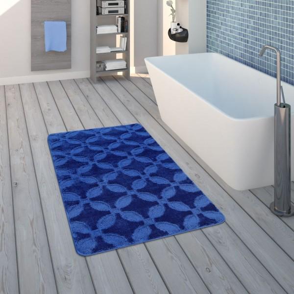 Badematte, Kurzflor-Teppich Für Badezimmer Einfarbig Rutschfest, In Blau