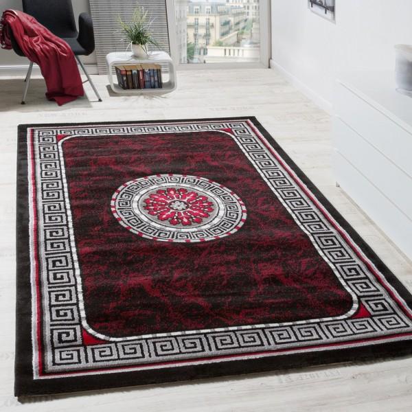 Designer Teppich Glitzergarn Klassische Ornamente Bordüre Rot Schwarz AUSVERKAUF