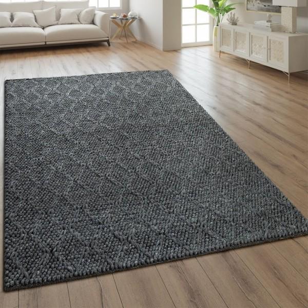Teppich Handgefertigt Rauten Muster Anthrazit