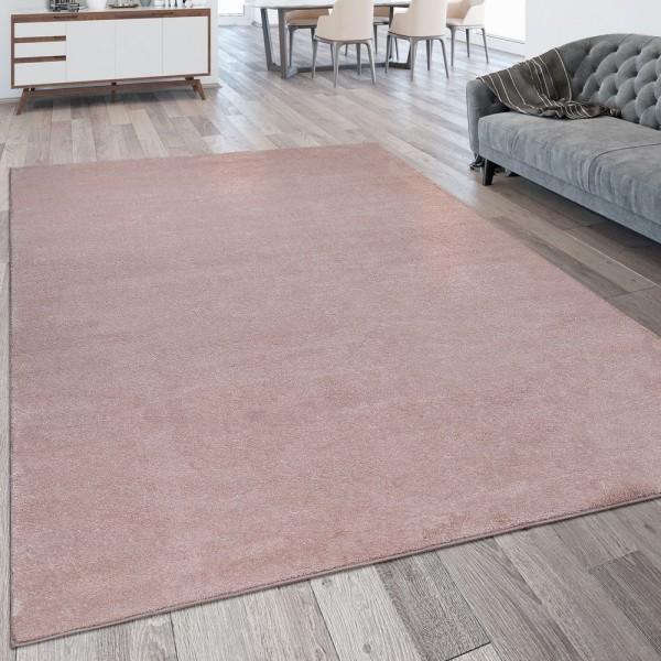 Wohnzimmer-Teppich, Einfarbig, Waschbarer Kurzflor-Teppich In Rosa Pink