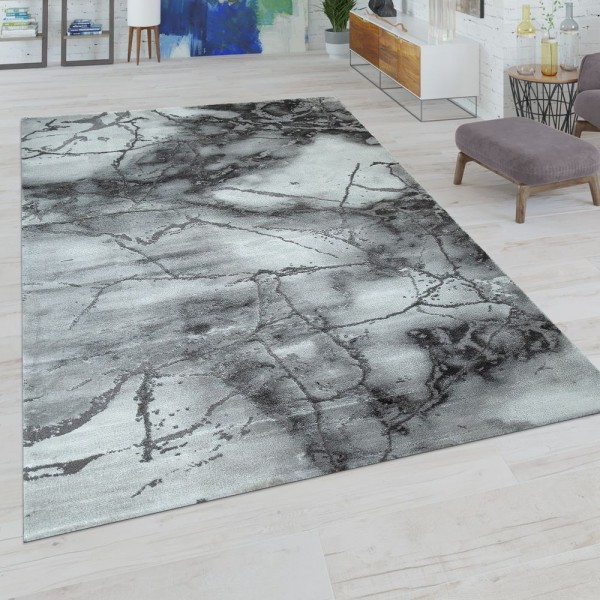 Kurzflor Wohnzimmer Teppich Modern Used-Look Abstraktes Muster In Grau Weiß