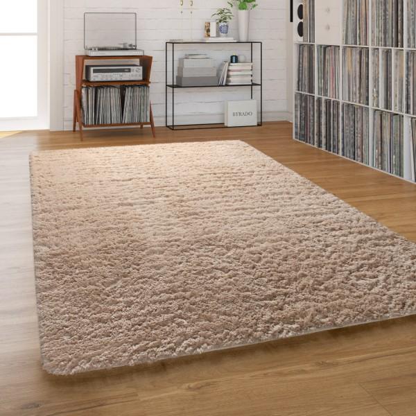 Hochflor-Teppich Shaggy Waschbar Wohnzimmer Einfarbig