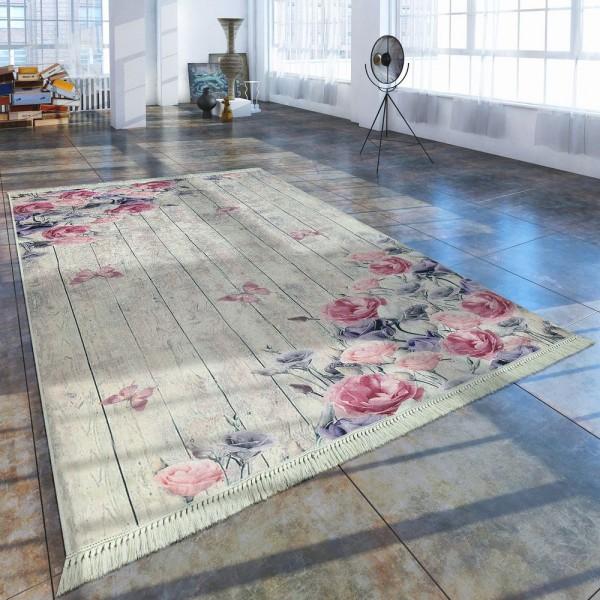 Moderner Teppich Mit Bedrucktem Blumen Muster Trend Design Rosa Creme