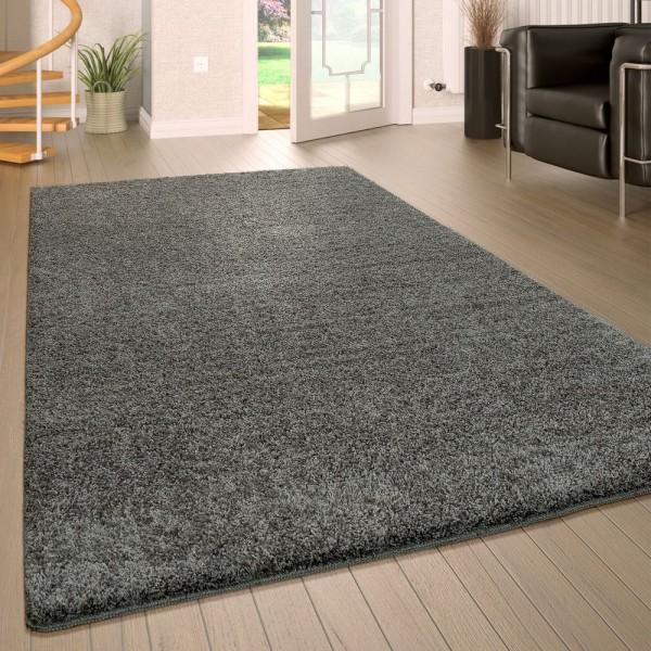 Hochflor Wohnzimmer Teppich Waschbar Shaggy Rutschfest Einfarbig In Grau
