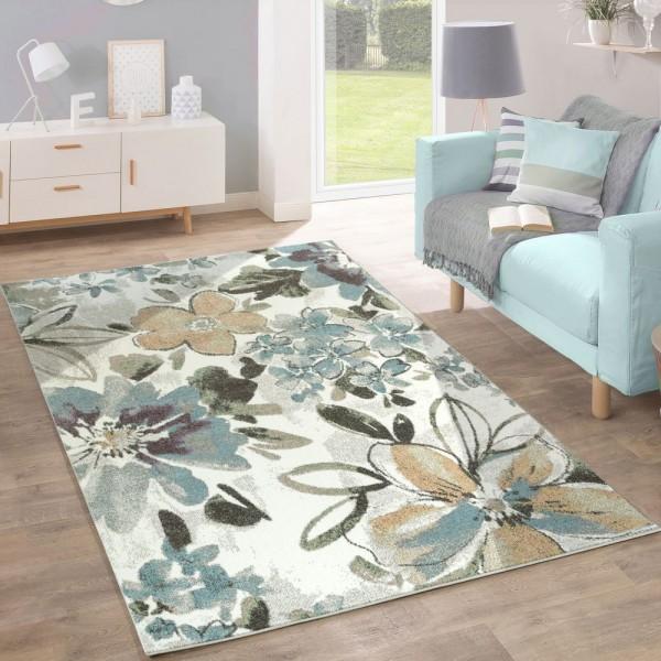 Designer Teppich Modern Wohnzimmer Blumen Muster Pastell Töne In Grün Blau Creme