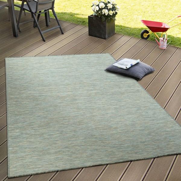 In- & Outdoor Flachgewebe Teppich Terrassen Teppiche Mit Farbverlauf Türkis Beige