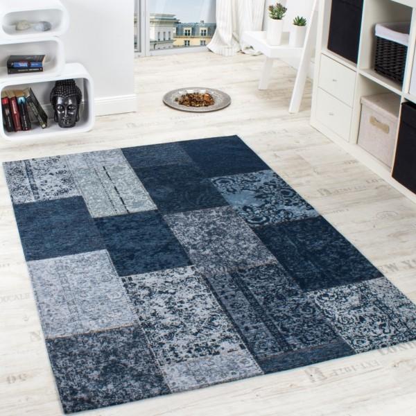 Vintage Teppich -Antik- Trendiger Patchwork Stil Designer Teppich in Blau