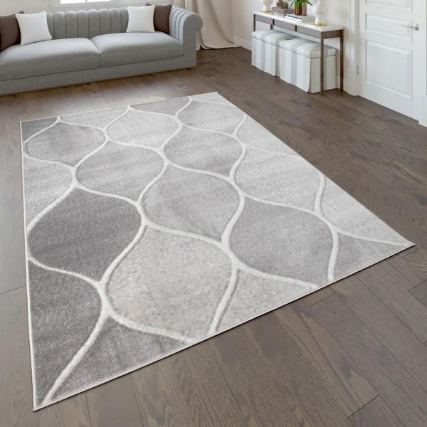 Wohnzimmer-Teppich Orient Design Einfarbig Grau
