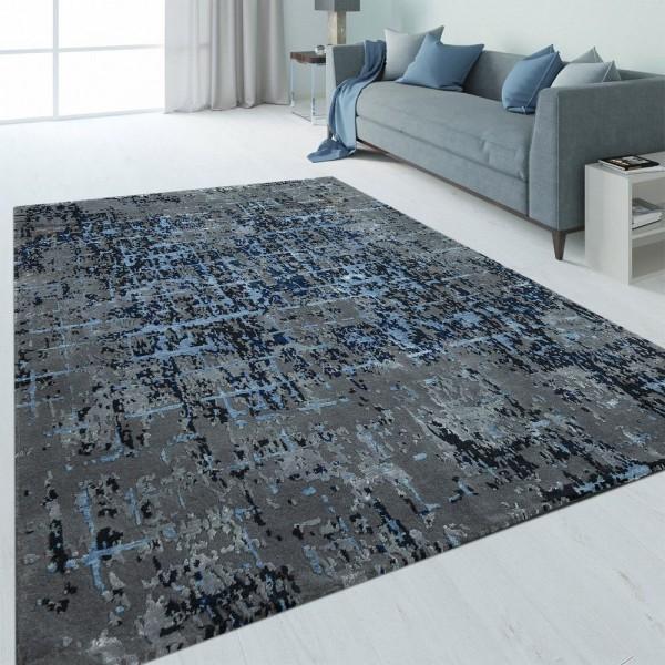 Handgeknoteter Teppich Abstrakt Blau