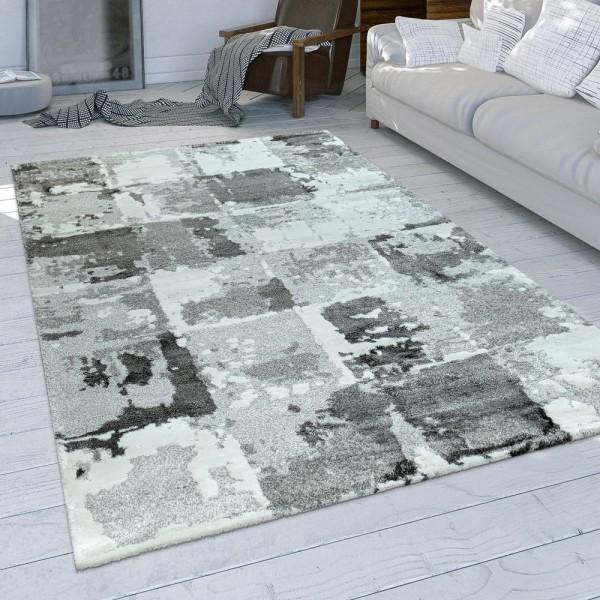 Wohnzimmer-Teppich, Kurzflor Mit Modernem Used-Look Und Karo-Muster In Grau