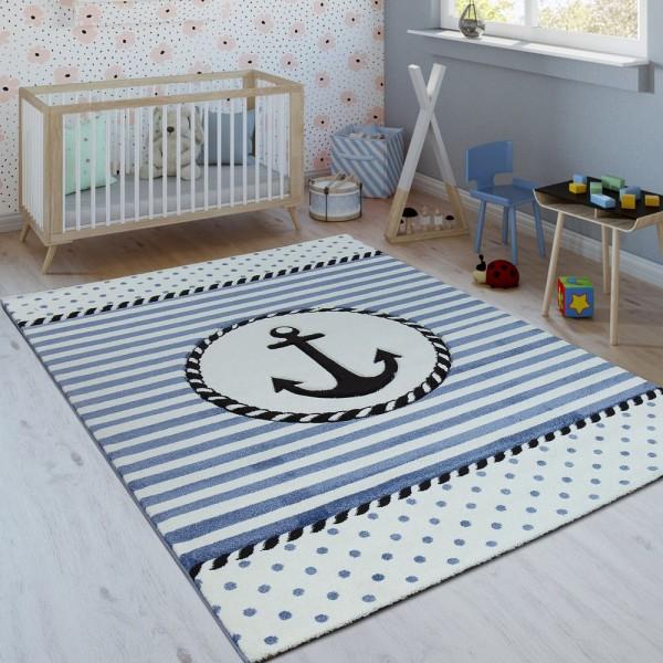 Kinderteppich Indigo Blau Trend Maritim Matrosen Design Gestreift 3D Kurzflor