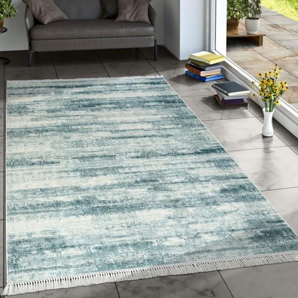 Designer Teppich Wohnzimmer Trend Teppiche Modern Meliert Bedruckt Türkis