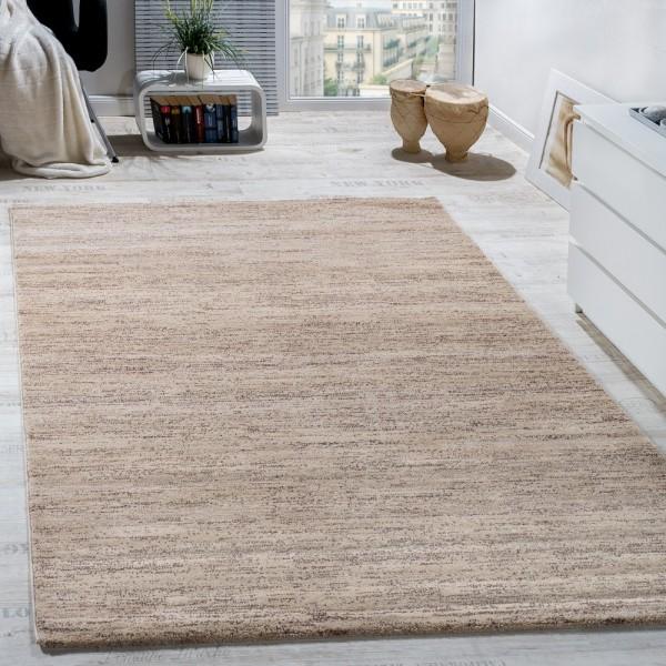Teppich Kurzflor Modern Gemütlich Preiswert Mit Melierung Beige Creme Braun