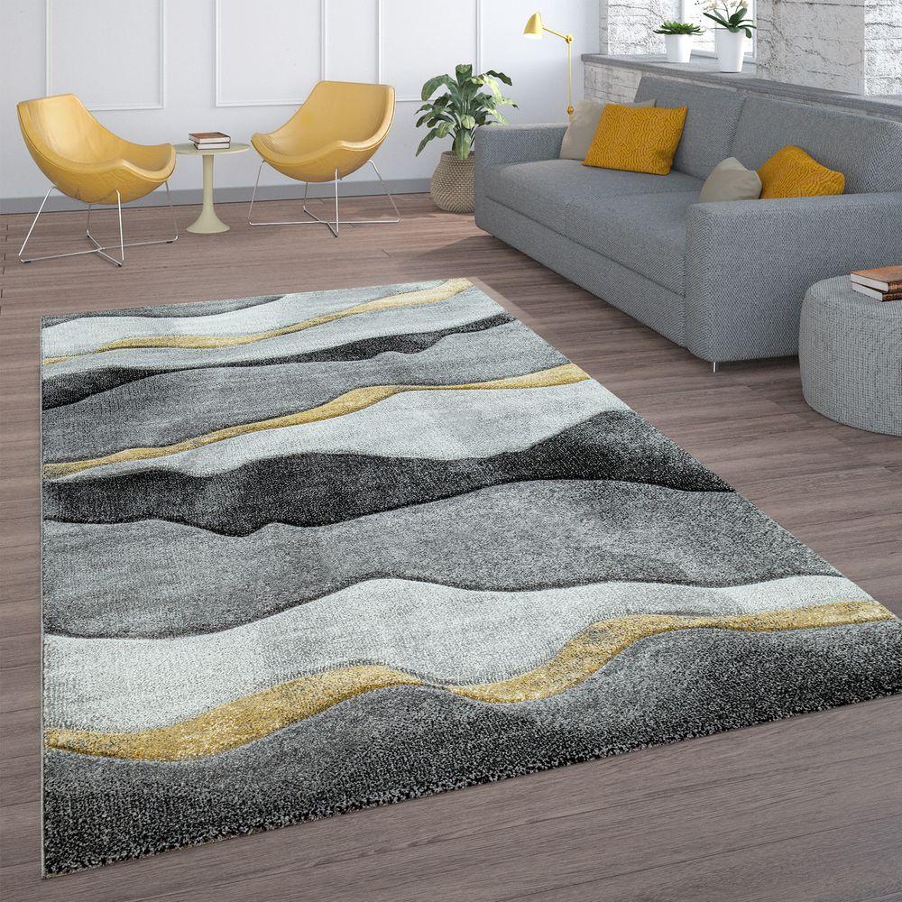 Living Room Rug Wavy Look Grey Gold Rug24
