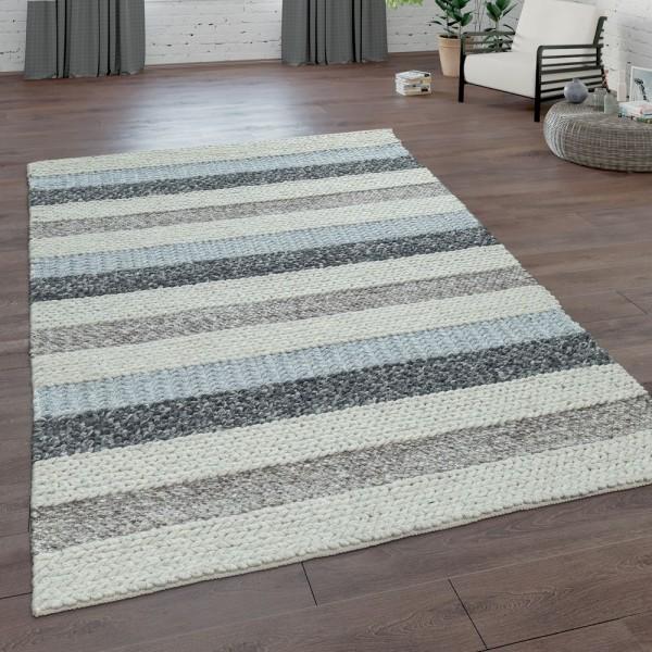 Handgeflochtener Natur Teppich Aus Wolle Streifen Muster In Beige Grau Creme