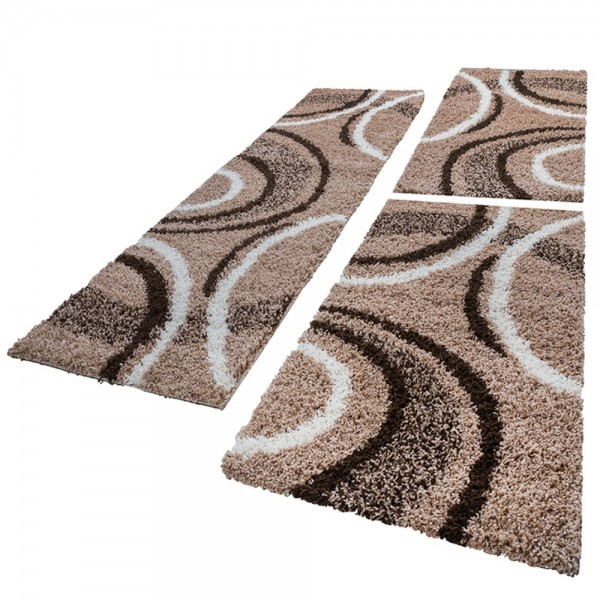 Bedroom Runners - Shaggy Pattern - Brown