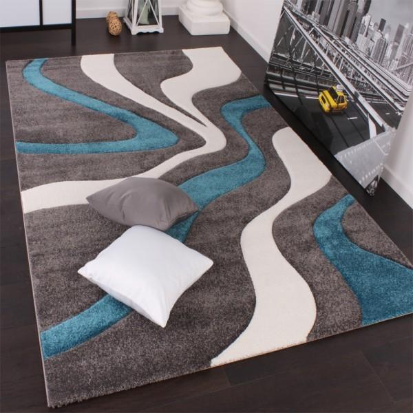 Designer Teppich mit Konturenschnitt Modern Grau Türkis Weiss