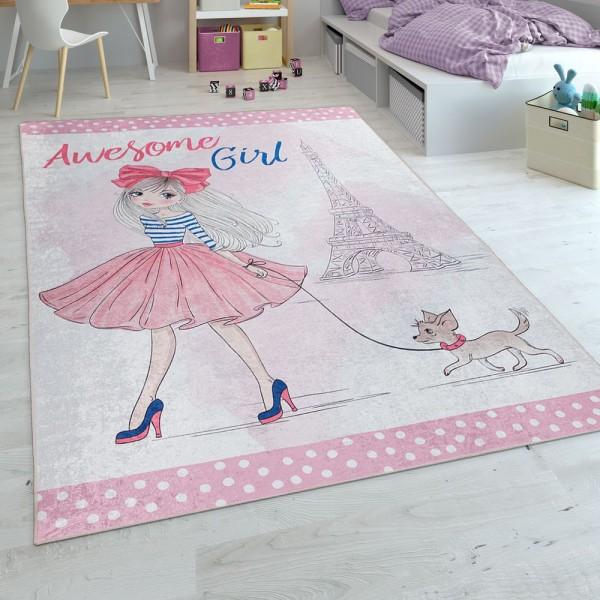 Kinderteppich, Flachgewebe Für Kinderzimmer, Mädchen-Motiv Und Print, In Rosa