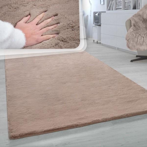 Hochflor-Teppich, Shaggy-Teppich Für Wohnzimmer, Weich Einfarbig, in Beige