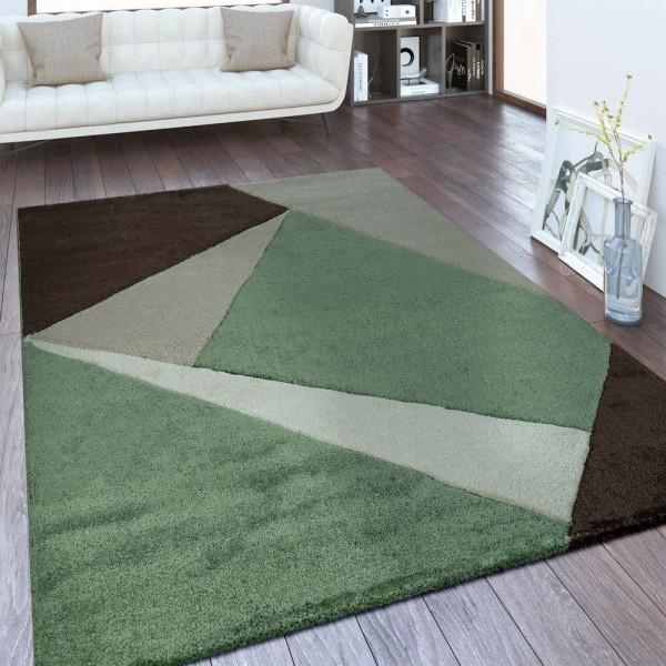 Moderner Kurzflor Teppich Geometrisches Design Grün