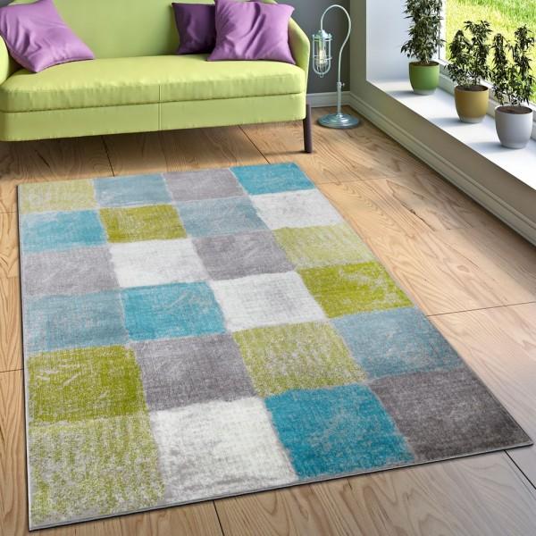 Designer Teppich Wohnzimmer Ausgefallene Farbkombination Karo Türkis Grün Grau