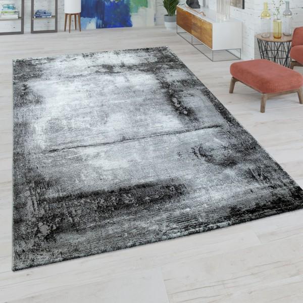 Kurzflor Wohnzimmer Teppich Modern Marmor Design Abstraktes Muster in Grau Weiß